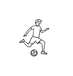 soccer player with ball hand drawn outline doodle vector image