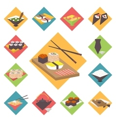 Sushi Japanese cuisine food icons set flat vector image