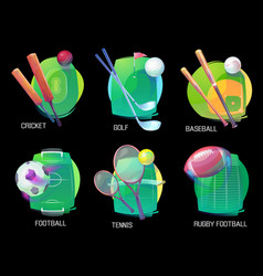 Tennis and soccer rugby and baseball sports vector