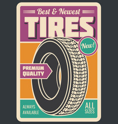 Tires car service retro style vector