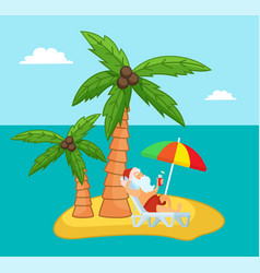tropical exotic island with relaxing santa claus vector image