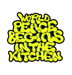 vegan phrase about peace graffiti lettering print vector image