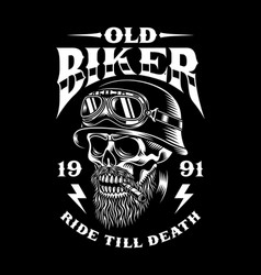 vintage bearded biker skull smoking cigar vector image