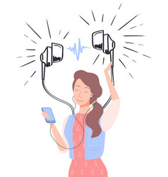 Woman in headphones listening to music vector