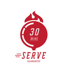 30 minutes hot serve with wood board vector image