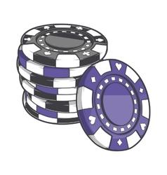 Black and violet stacks of gambling chips vector image