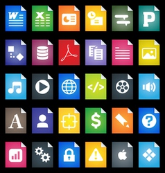 File Types Icons vector image vector image