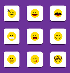 Flat icon gesture set of wonder cheerful joy and vector