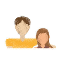 drawing couple relationship love vector image