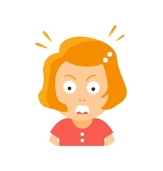 Little Red Head Girl In Red Dress Enraged Flat vector image