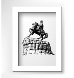 monument of famous Ukrainian hetman Bogdan vector image