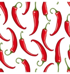 seamless pattern white with chilli pepper vector image vector image