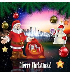 Abstract celebration with Santa Claus snowman and vector image vector image