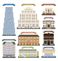 Hotel buildings vector image vector image