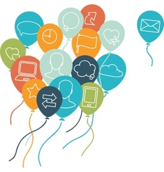 Social media balloons background vector image vector image