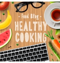 Creative cooking food blog healthy cooking vector image