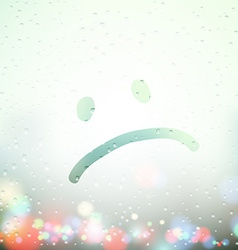 sad face painted on Sweaty Window vector image vector image