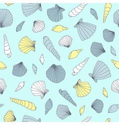 Seamless seashell pattern vector image