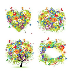 summer tree frame vector image vector image