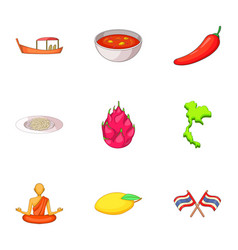 Thailand day icons set cartoon style vector