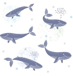 whales seamless vector image vector image