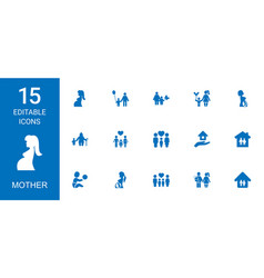 15 mother icons vector