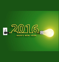 2016 happy new year concept Creative light bulb vector image vector image