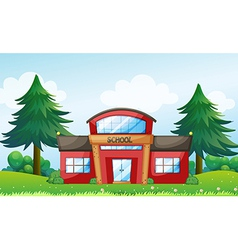 A red school building vector