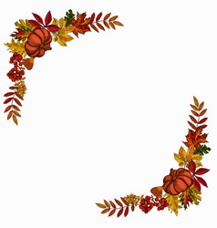 Autumn red yellow leaves frame template vector