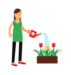 beautiful young brunette woman watering flowers in vector image vector image