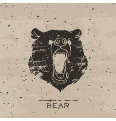 Big black bear roaring vector image