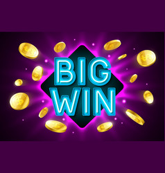 big win banner for gambling casino games bingo or vector image