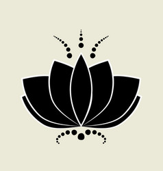 black lotus silhouette with white contour vector image