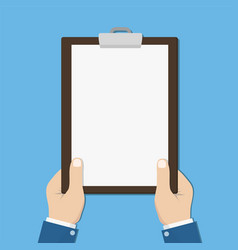 blank clipboard in hands businessman empty space vector image