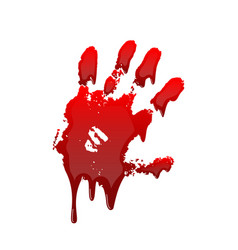 bloody hand print 3d isolated white background vector image