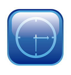 Blue square frame with wall clock icon vector