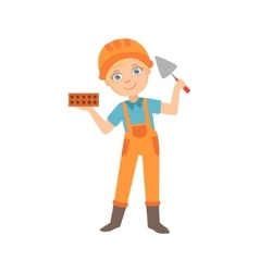 Boy holding a palette knife and a brick kid vector