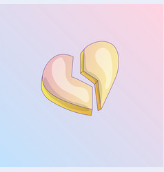 broken heart cartoon icon heartbreak vector image