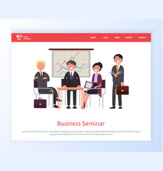 Business seminar people on conference meeting vector
