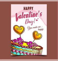 cake decorated hearts and flowers poster vector image