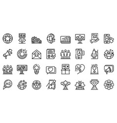 Campaign icons set outline style vector