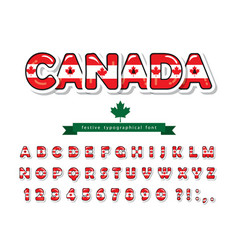 canada cartoon font canadian national flag vector image