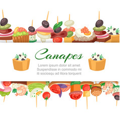 canapes tapas on plate appetizer finger food vector image