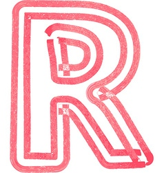 Capital letter R drawing with Red Marker vector