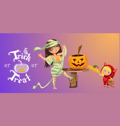 Cartoon mom and kid carving hallows pumpkin poster vector