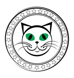 cat stamp vector image