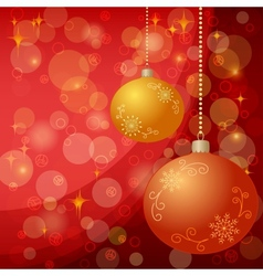 Christmas background with balls and stars vector image