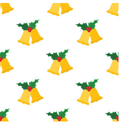 christmas bells with holly leaves vector image