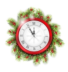 Christmas Fir Branches with Clock vector
