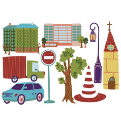 city street elements various outdoor urban vector image